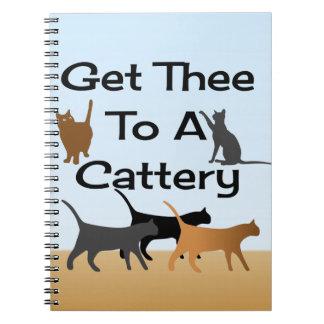 Gelangen Sie Thee an ein Cattery-Notizbuch Spiral Notizblock