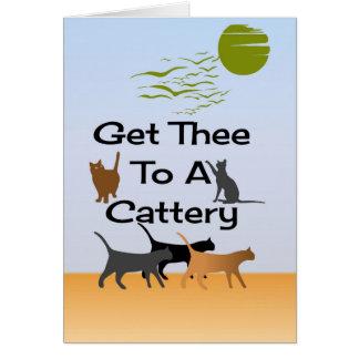 Gelangen Sie Thee an eine Cattery-Gruß-Karte Karte