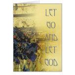 Gelassen gehen Sie Gott lassen - blaue Iris-Karte