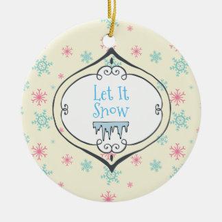 Gelassen ihm schneien frohe keramik ornament