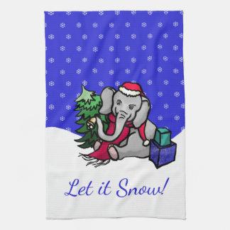 Gelassen ihm schneien niedlicher handtuch
