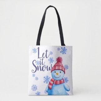 Gelassen ihm schneien Snowman mit Schneeflocken Tasche