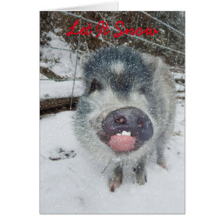 Gelassen ihm schneien Weihnachtsschwein-Karte Karte