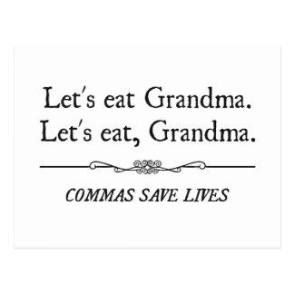 Gelassen uns essen Sie Großmutter, die Kommas die Postkarten