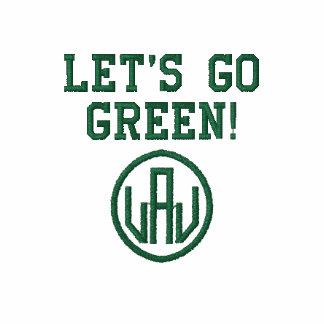Gelassen uns gehen Grün gestickter Mann-T - Shirt