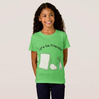 Gelassen uns seien Sie Freunde, Felsen, Papier und T-Shirt