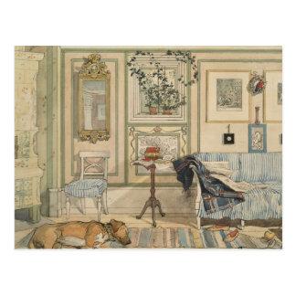 Gelassener Schlafenhundelügen-SchwedeWatercolor Postkarte