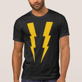 Gelb auf schwarzem Blitz-Superheld-T-Stück T-Shirt
