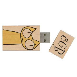 Gelb, Blau-Anstarrenkatzen Holz USB Stick