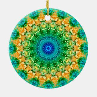 """Gelb-, Grüne und Blaue""""Jahreszeiten: Sommer-"""" Rundes Keramik Ornament"""