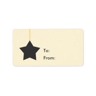 Gelb mit grauem Stern-Geschenk-Umbau Adressaufkleber