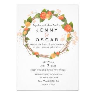Gelb-orangee Frühlings-Hochzeitseinladung Karte