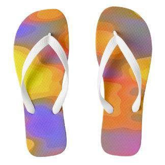 Gelb-orangee lila abstrakte Grafik Flip Flops