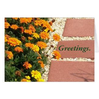 Gelb-orangee Ringelblumen-Blumen-Gruß-Karten Karte