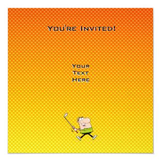 Gelb-orangeer Cartoon-Golfspieler Quadratische 13,3 Cm Einladungskarte