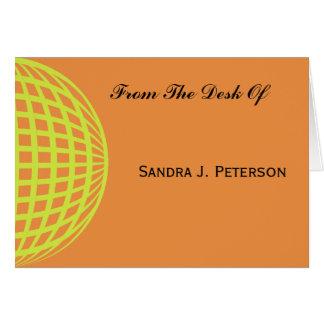 Gelb-orangeer Kreisentwurf des modernen Geschäfts Mitteilungskarte