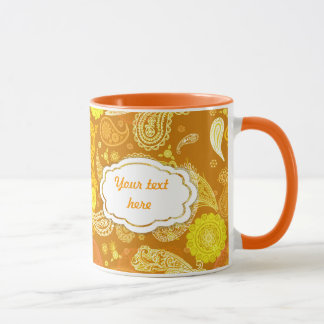 Gelb-orangees sonniges Paisley kundengerecht Tasse