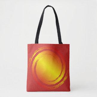 Gelb-orangees und rotes brennendes tasche