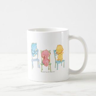 Gelb, rosa und Blau betrifft Stühle Kaffeetasse