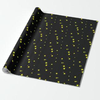 Gelb-Sterne auf schwarzem Geschenk-Packpapier Geschenkpapier