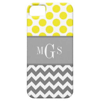 Gelb und grau, Zickzack, Polka-Punkte iphone 5 iPhone 5 Schutzhülle