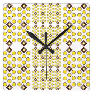 Gelb und Wanduhr Browns Geoometric