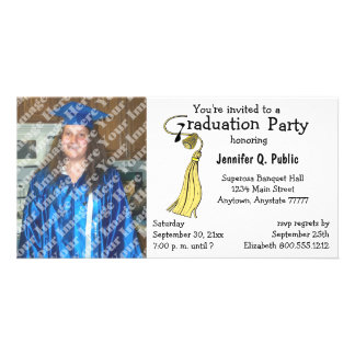 Gelbe Abschluss-Party-Foto-Einladung Personalisierte Photo Karte