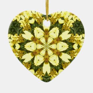 gelbe abstrakte Entwurfsmit blumengänseblümchen Keramik Herz-Ornament