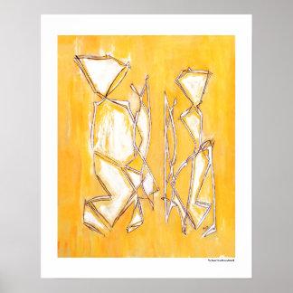 Gelbe abstrakte Plakate der Paar-Wohngestaltung