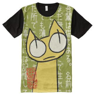 Gelbe Anstarrenkatzen T-Shirt Mit Komplett Bedruckbarer Vorderseite