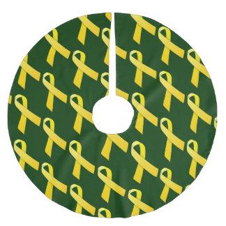 Gelbe Bänder deckten Muster mit Ziegeln Polyester Weihnachtsbaumdecke
