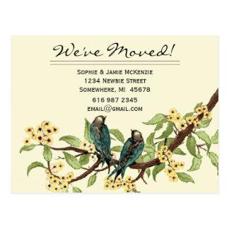 Gelbe Blumen-aquamarine Vintage Vögel, die wir Postkarte