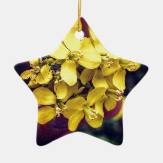 Gelbe Blumen Keramik Stern-Ornament