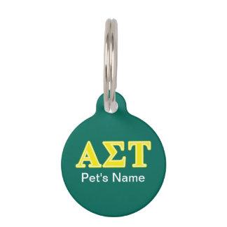 Gelbe Buchstaben AlphasigmaTau Tiernamensmarke