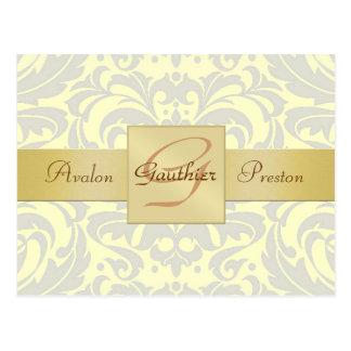 Gelbe Damast-Goldmonogramm-Save the Date Postkarte