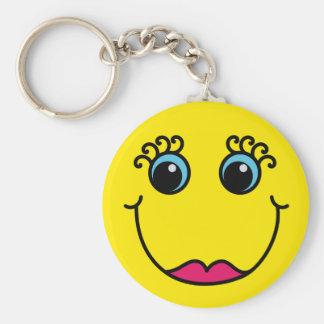Gelbe Dame Smiley Schlüsselanhänger