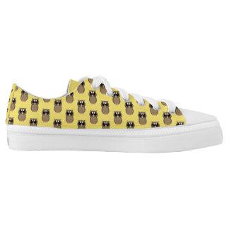 Gelbe Eulen-Schuhe Niedrig-geschnittene Sneaker
