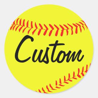 Gelbe Fastpitch Softball-Gewohnheits-Aufkleber Runder Aufkleber
