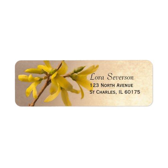 Gelbe Frühlingforsythia-Blumen-Rücksendeadresse
