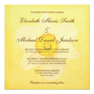 Gelbe Frühlings-Narzissen-Blumen-Hochzeit Quadratische 13,3 Cm Einladungskarte