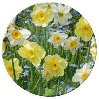 Gelbe Frühlingsnarzissendruck-Porzellanplatte Teller Aus Porzellan