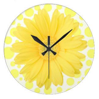 Gelbe Gänseblümchen-Uhr Große Wanduhr
