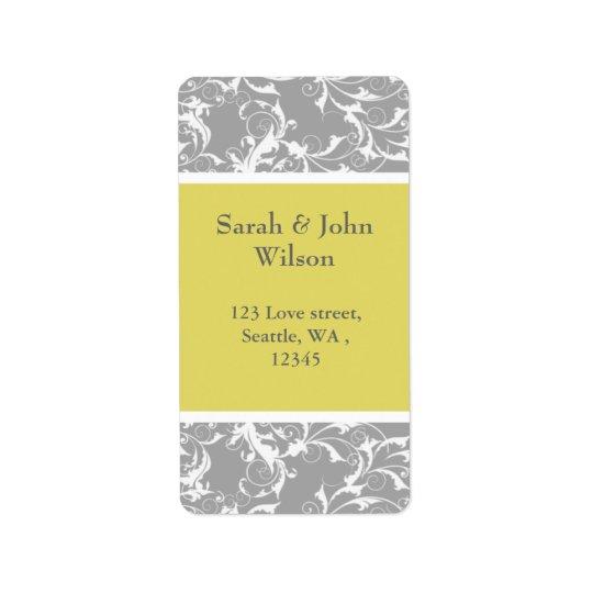 gelbe graue barocke Hochzeit Adressaufkleber