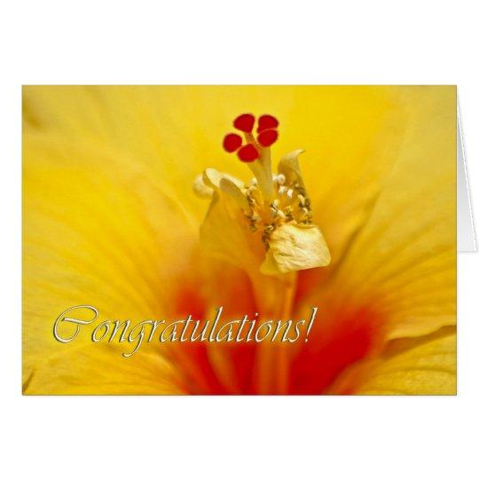 Gelbe Hibiskus-Glückwünsche Grußkarte