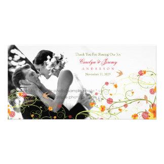 Gelbe Hibiskus-Wirbels-Frühlings-Hochzeit danken Photo Grußkarte