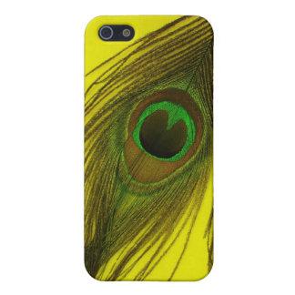 Gelbe Hintergrund-Pfau-Feder iPhone 5 Cover
