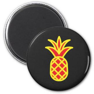 Gelbe Kiefer Apple im Schwarzen Runder Magnet 5,1 Cm