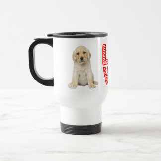 Gelbe Labrador-Retriever-Welpen-Hunderot-Liebe Reisebecher