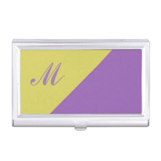 Gelbe lila Farbblock-Monogramminitiale Visitenkarten-Behälter