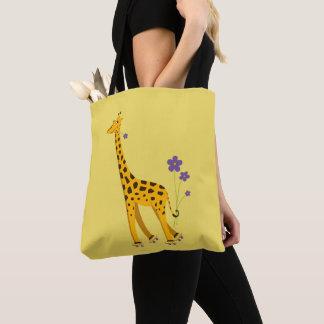 Gelbe lustige Rollen-Skaten-Giraffe Tasche